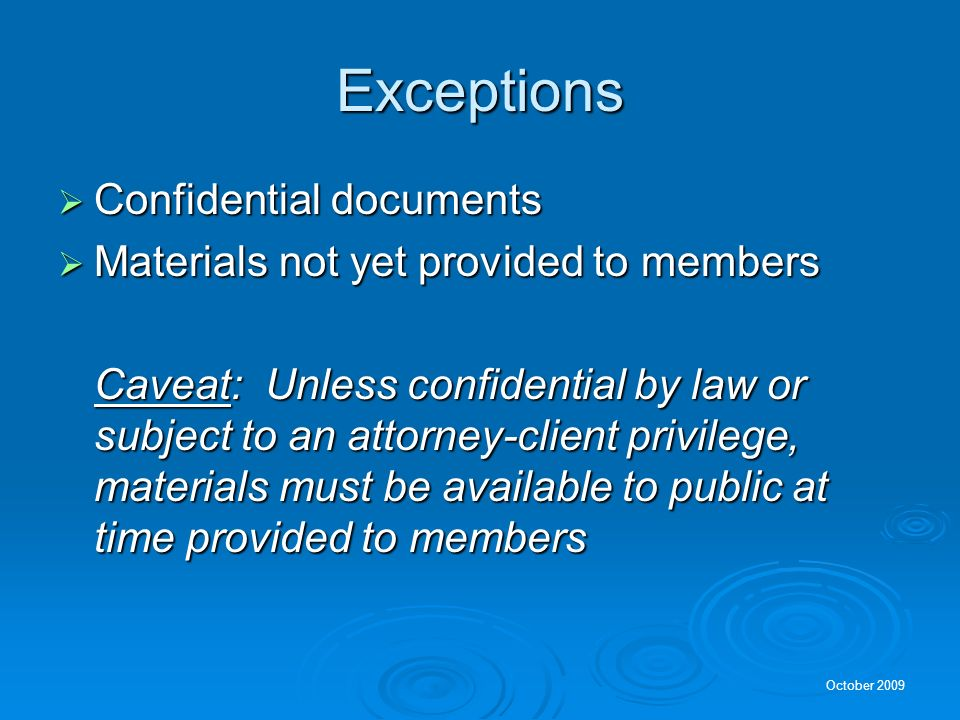 Exceptions Confidential documents
