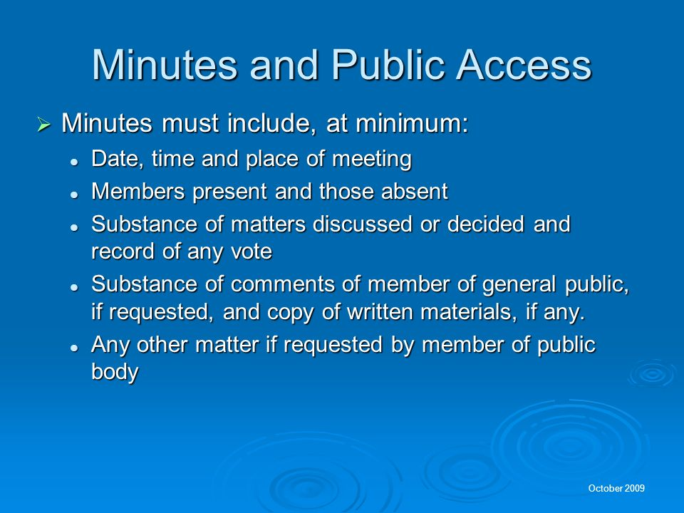 Minutes and Public Access