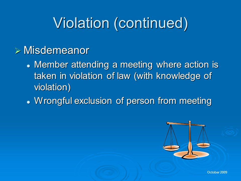 Violation (continued)