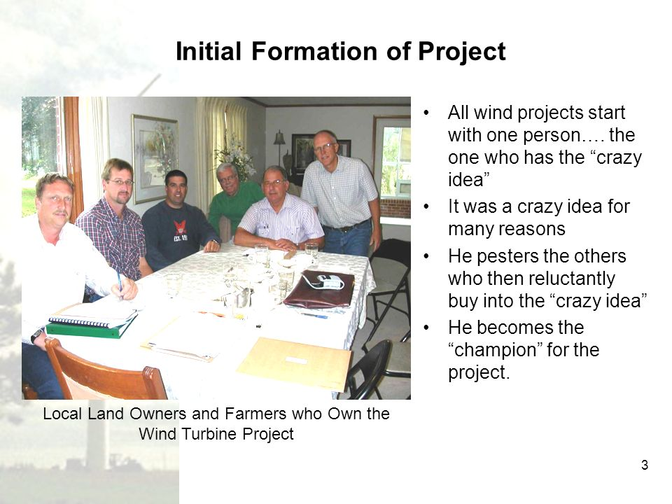Initial Formation of Project