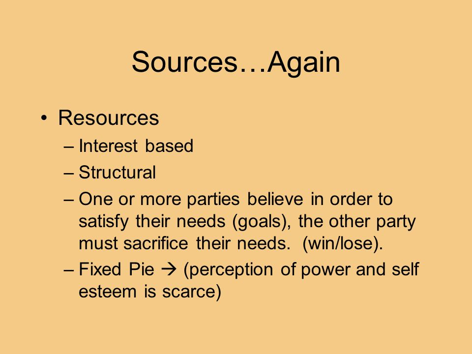 Sources…Again Resources Interest based Structural