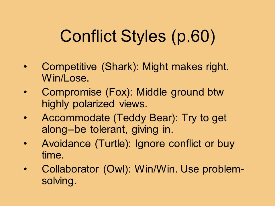 Conflict Styles (p.60) Competitive (Shark): Might makes right. Win/Lose. Compromise (Fox): Middle ground btw highly polarized views.