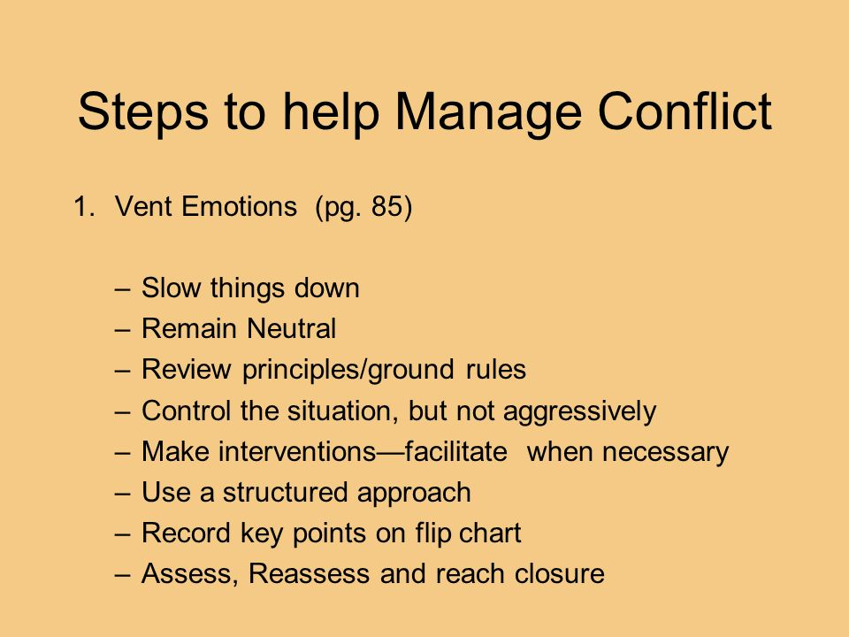 Steps to help Manage Conflict