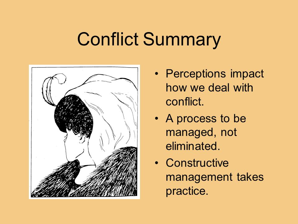 Conflict Summary Perceptions impact how we deal with conflict.