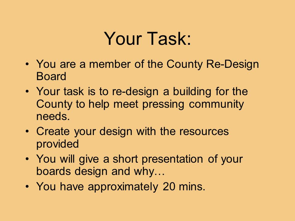 Your Task: You are a member of the County Re-Design Board