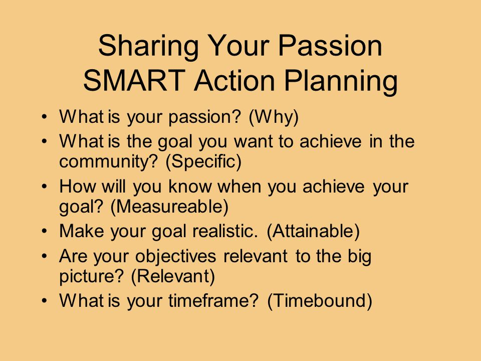 Sharing Your Passion SMART Action Planning