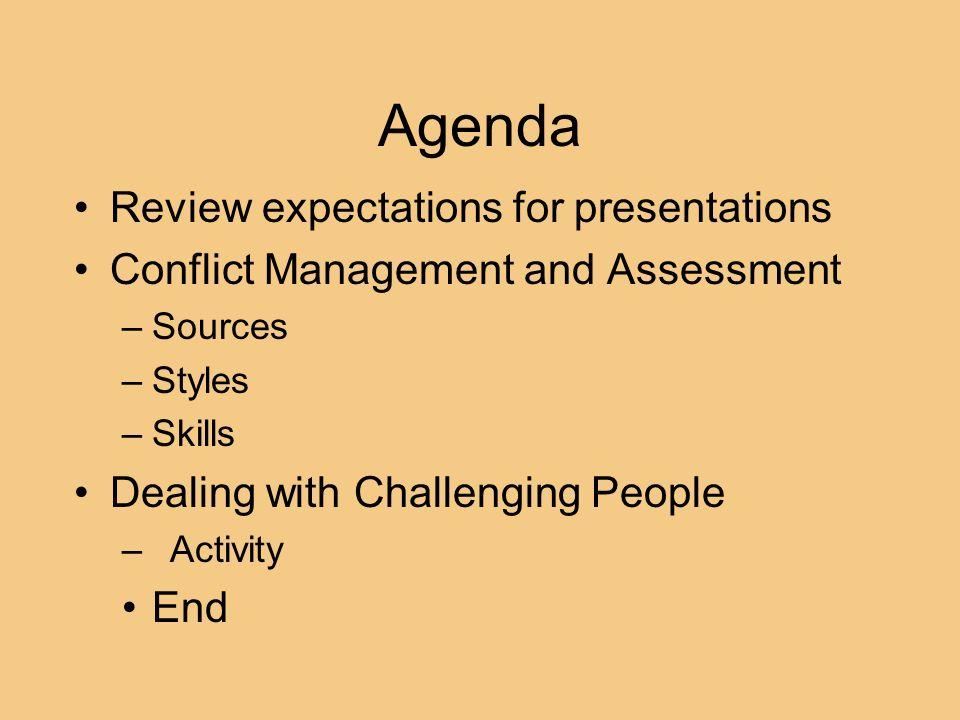 Agenda Review expectations for presentations