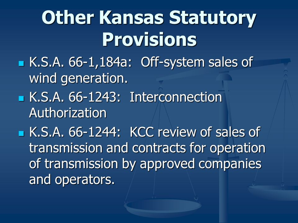 Other Kansas Statutory Provisions