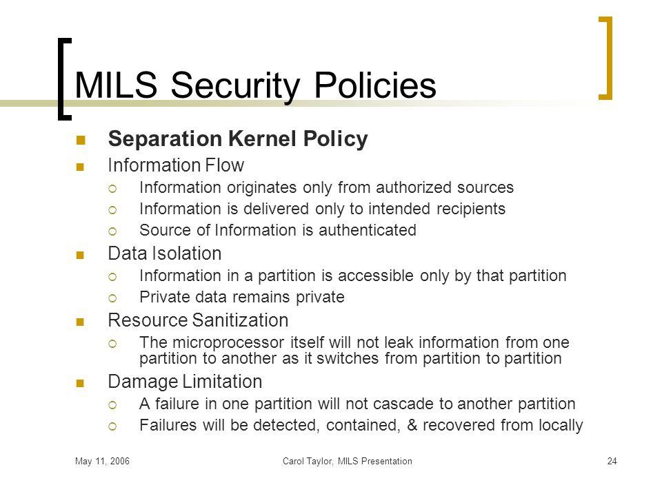 MILS Security Policies
