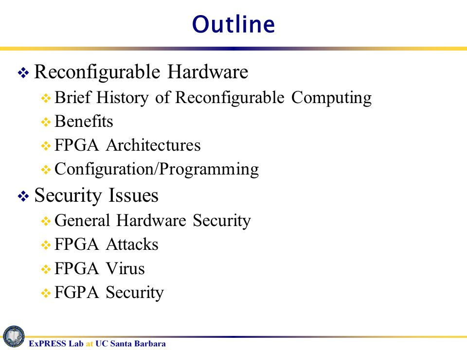 Outline Reconfigurable Hardware Security Issues
