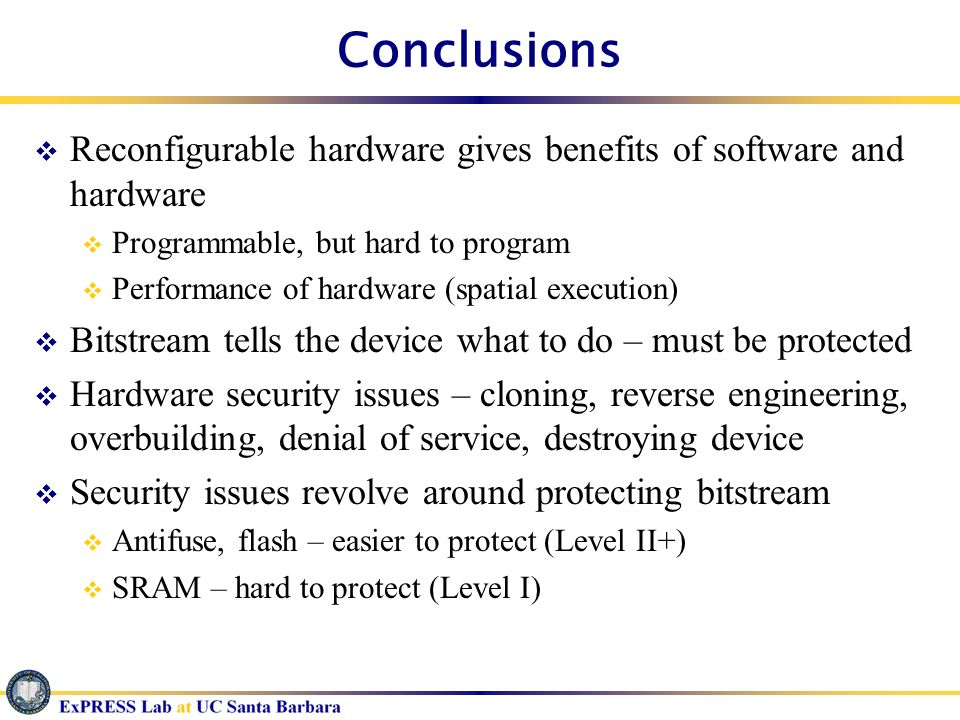 Conclusions Reconfigurable hardware gives benefits of software and hardware. Programmable, but hard to program.