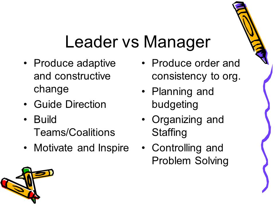 Leader vs Manager Produce adaptive and constructive change