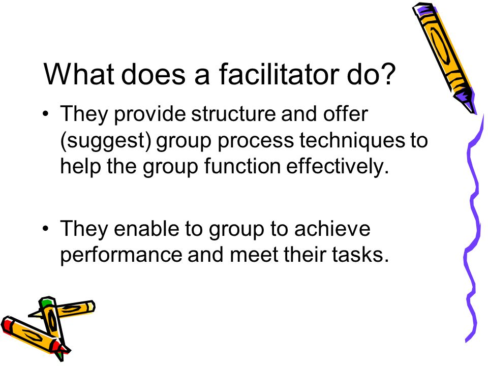 What does a facilitator do