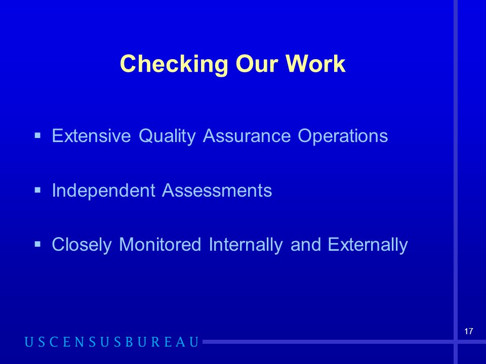 Checking Our Work Extensive Quality Assurance Operations