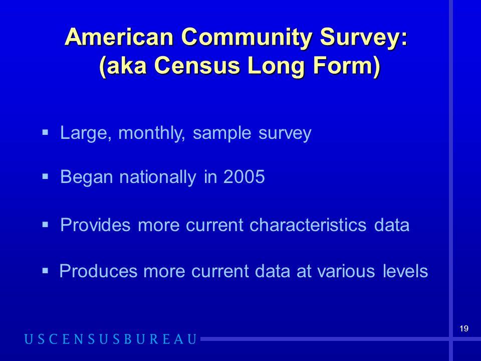 American Community Survey: (aka Census Long Form)