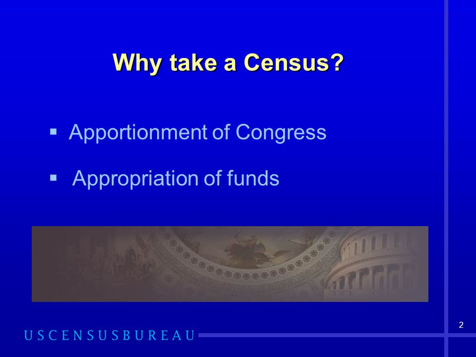 Why take a Census Apportionment of Congress Appropriation of funds