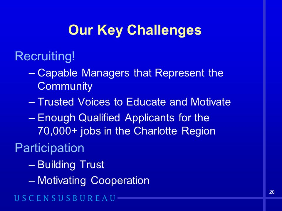 Our Key Challenges Recruiting! Participation