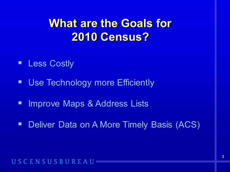 What are the Goals for 2010 Census