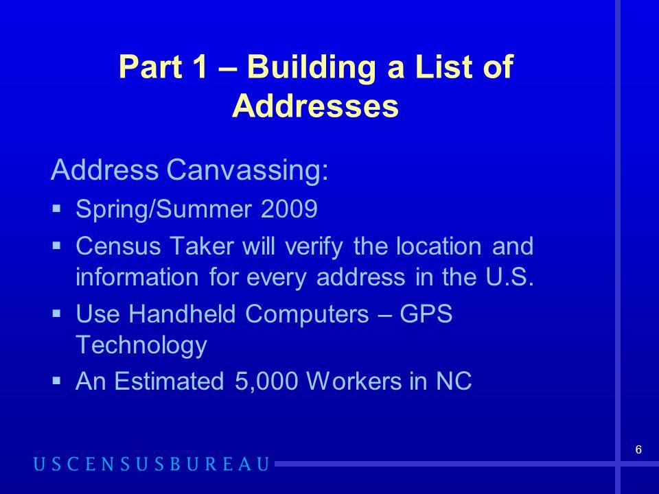 Part 1 – Building a List of Addresses