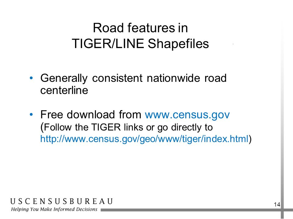Road features in TIGER/LINE Shapefiles