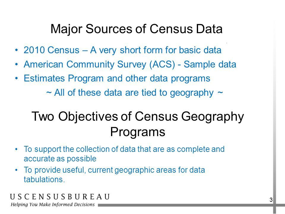 Major Sources of Census Data