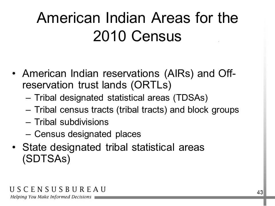 American Indian Areas for the 2010 Census