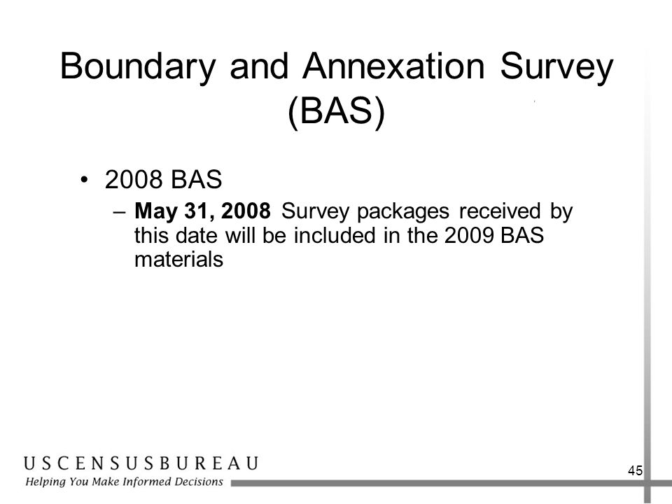 Boundary and Annexation Survey (BAS)