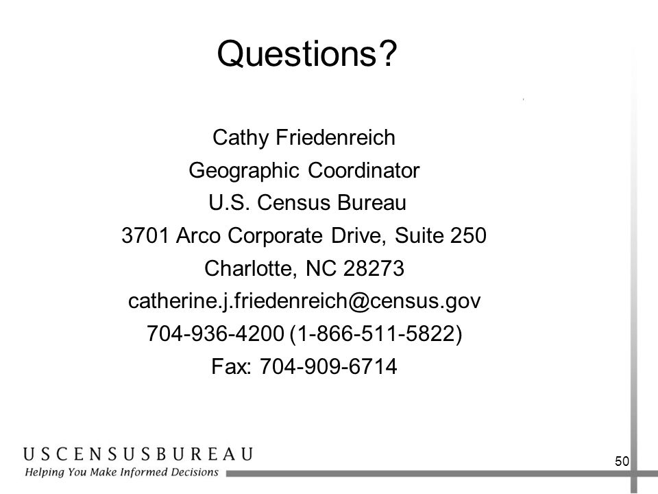 Questions Cathy Friedenreich Geographic Coordinator