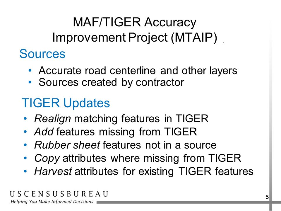 MAF/TIGER Accuracy Improvement Project (MTAIP)