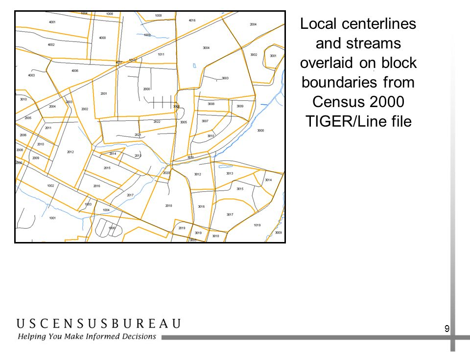Local centerlines and streams overlaid on block boundaries from Census 2000 TIGER/Line file