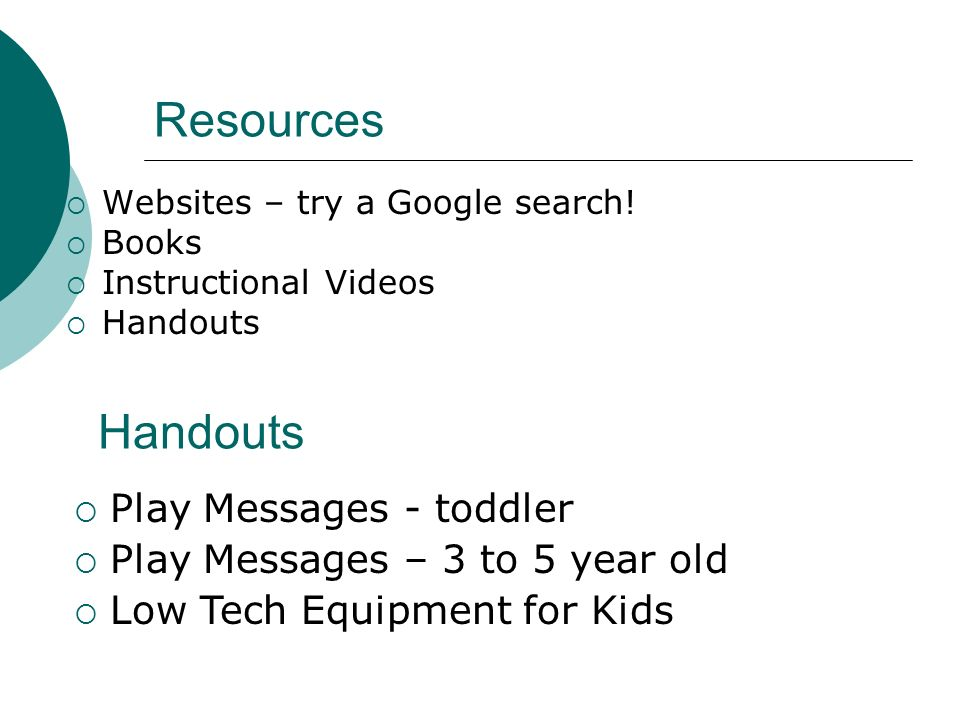 Resources Handouts Play Messages - toddler