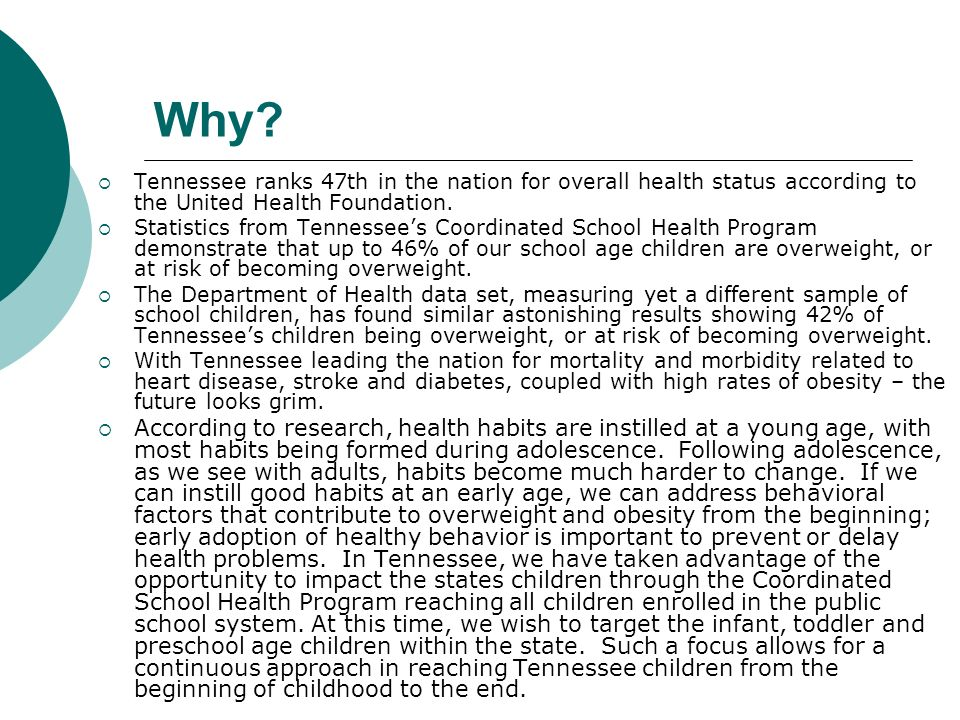 Why Tennessee ranks 47th in the nation for overall health status according to the United Health Foundation.