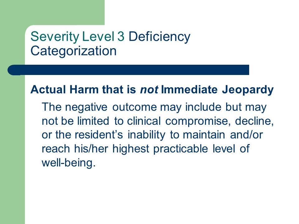 Severity Level 3 Deficiency Categorization