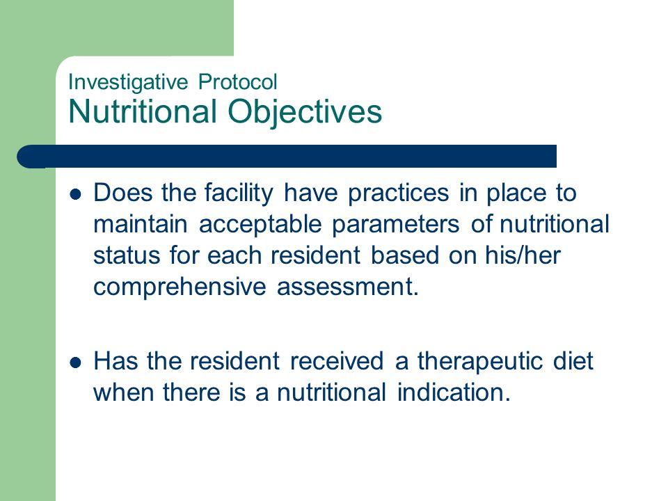 Investigative Protocol Nutritional Objectives