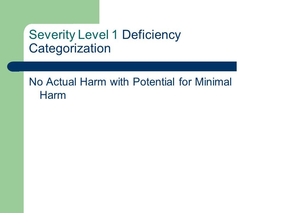 Severity Level 1 Deficiency Categorization