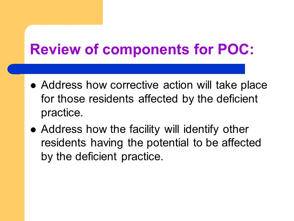 Review of components for POC: