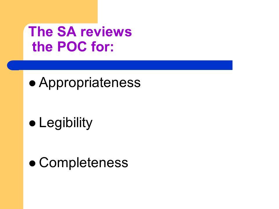 The SA reviews the POC for: