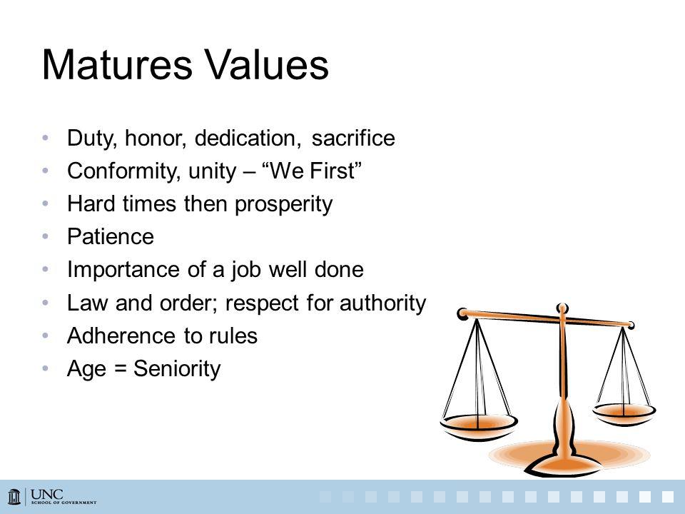 Matures Values Duty, honor, dedication, sacrifice