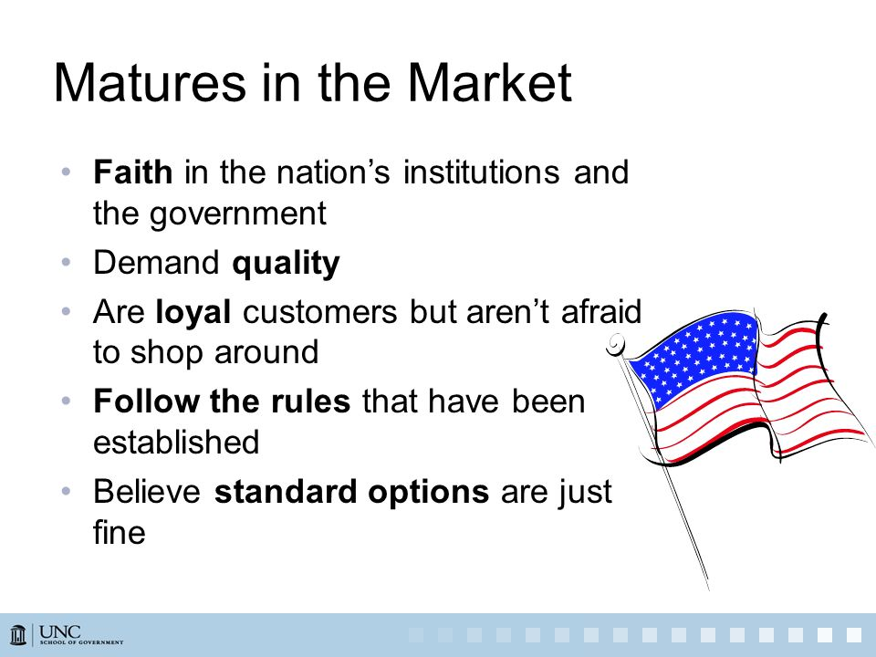 Matures in the Market Faith in the nation's institutions and the government. Demand quality. Are loyal customers but aren't afraid to shop around.