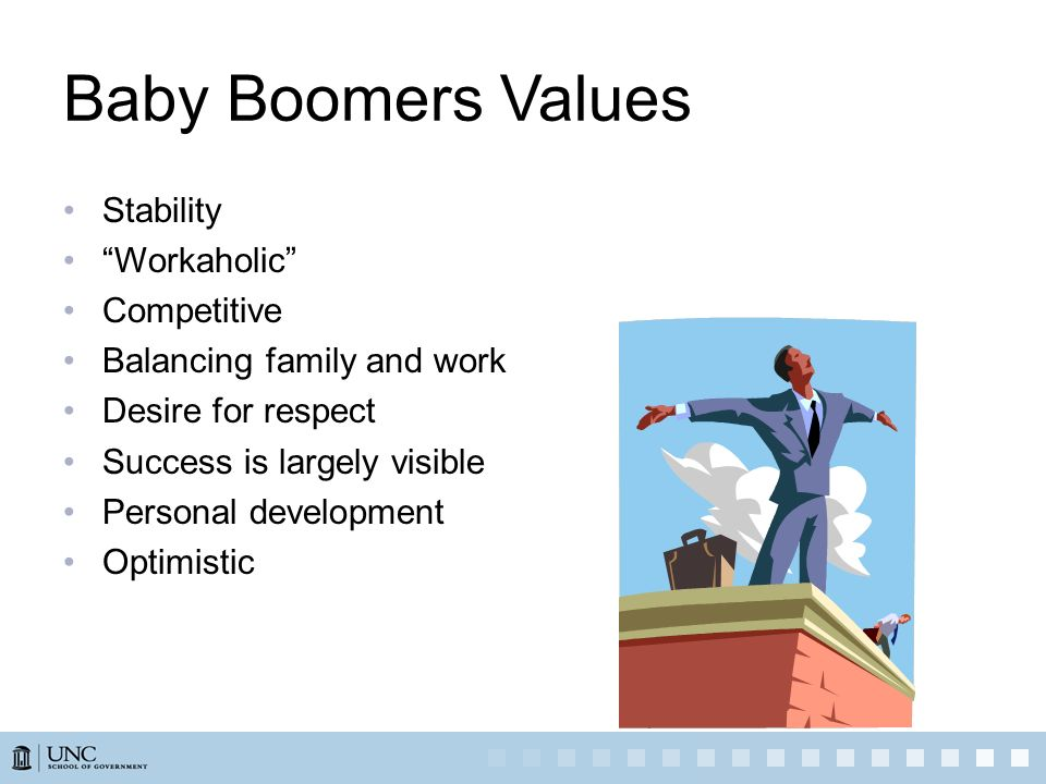Baby Boomers Values Stability Workaholic Competitive