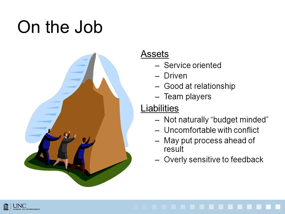 On the Job Assets Liabilities Service oriented Driven