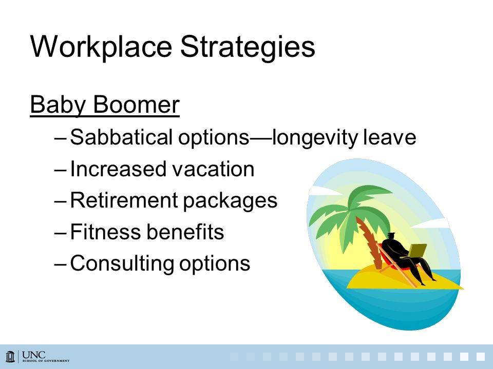 Workplace Strategies Baby Boomer Sabbatical options—longevity leave