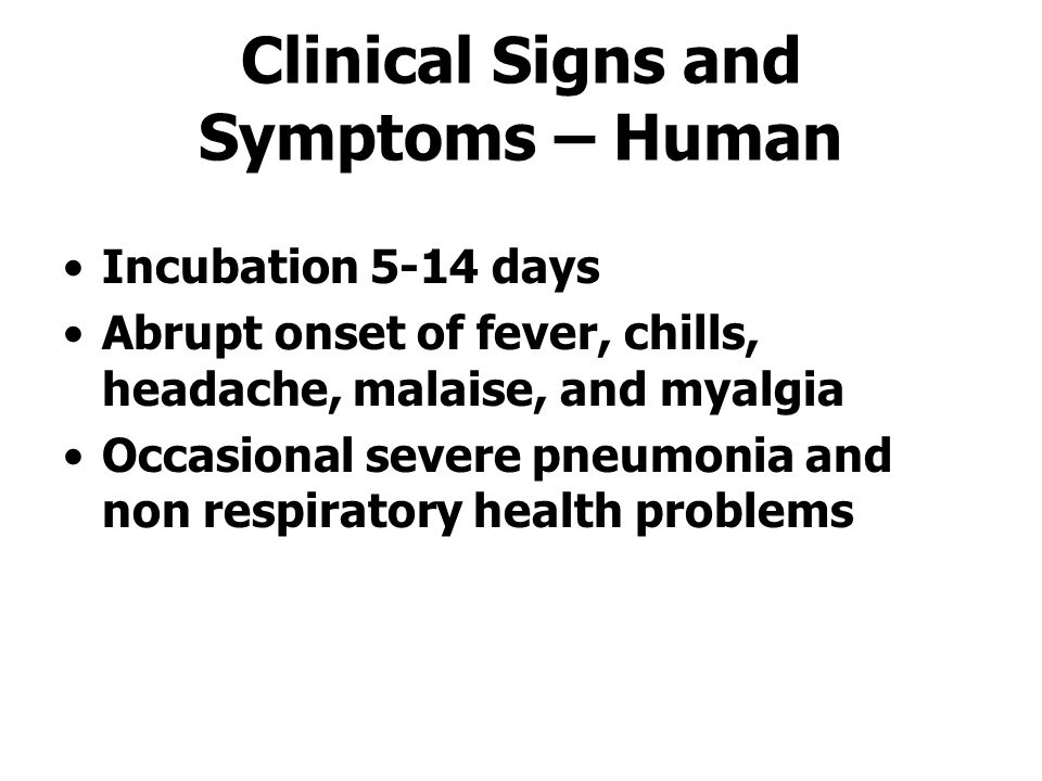Clinical Signs and Symptoms – Human