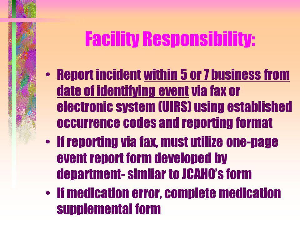Facility Responsibility: