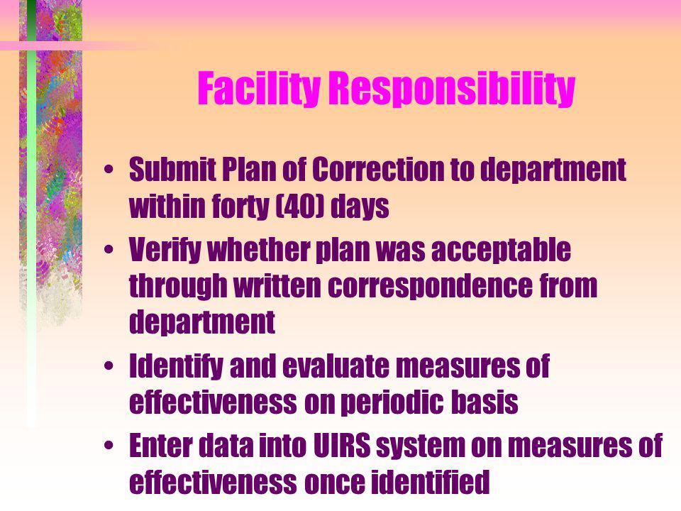 Facility Responsibility