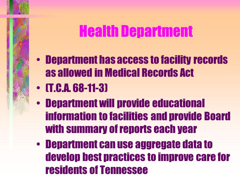 Health Department Department has access to facility records as allowed in Medical Records Act. (T.C.A. 68-11-3)
