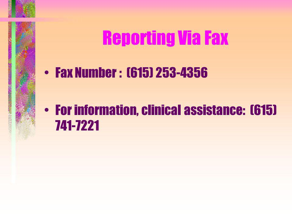 Reporting Via Fax Fax Number : (615) 253-4356