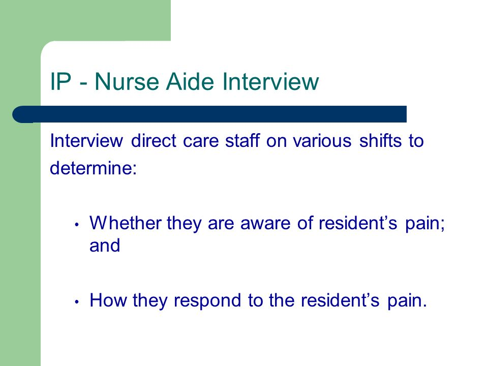 IP - Nurse Aide Interview