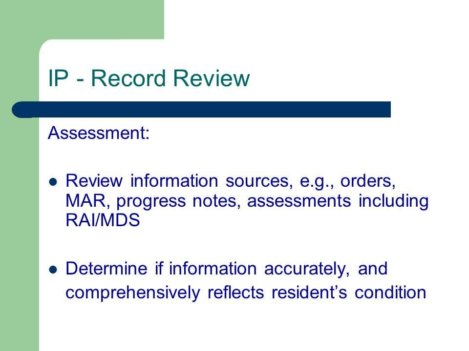 IP - Record Review Assessment: