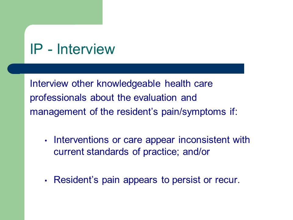 IP - Interview Interview other knowledgeable health care